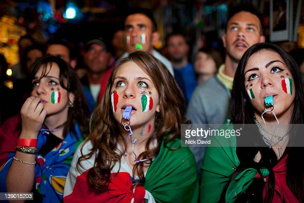 italian football fans watch world cup 2010 - whistle stock pictures, royalty-free photos & images
