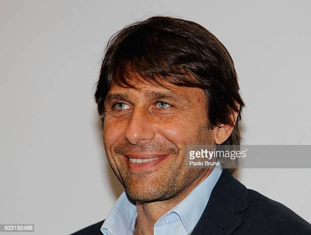 Italian Football Federation head coach Antonio Conte attends a press conference during the visit of Bambin Gesu' Hospital on May 21 2016 in Rome Italy