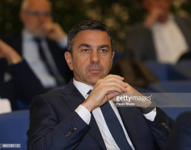 Italian football federation Vice Commissioner Alessandro Costacurta attends the FIGC meeting at Italian olympic committee on April 23 2018 in Rome...