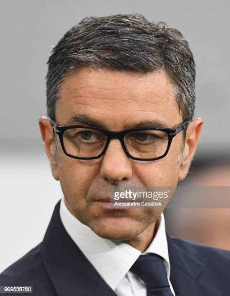 Italian football federation Vice Commissioner Alessandro Costacurta looks on before the International Friendly match between Italy and Netherlands at...