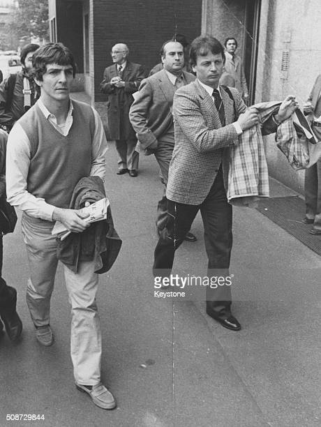 Italian football player Paolo Rossi pictured arriving at the football corruption trial where he is appearing on bribery charges with his team 'AC...