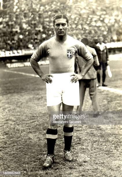 Italian Football Players Giuseppe Meazza poses for photo 1934, Italy.