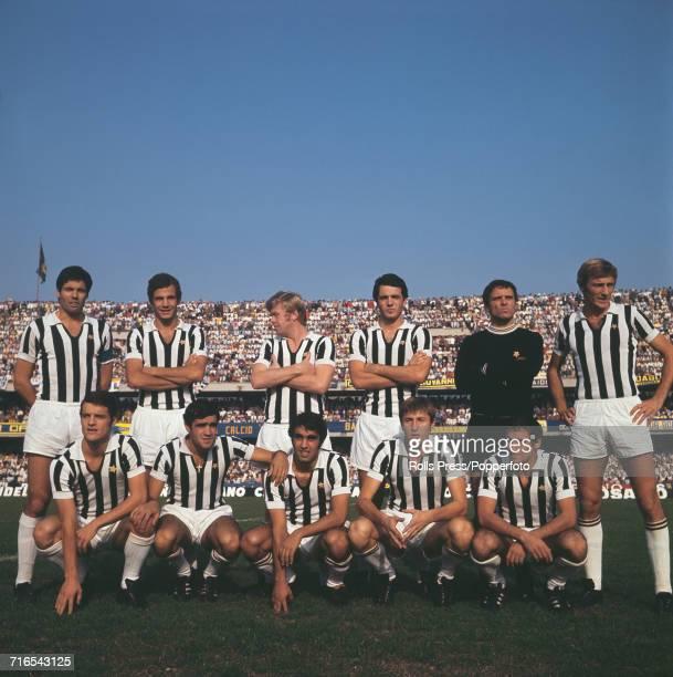 Italian football team Juventus FC pictured together prior to a match in Italy in 1971 Standing from left to right are Sandro Salvadore unknown Helmut...