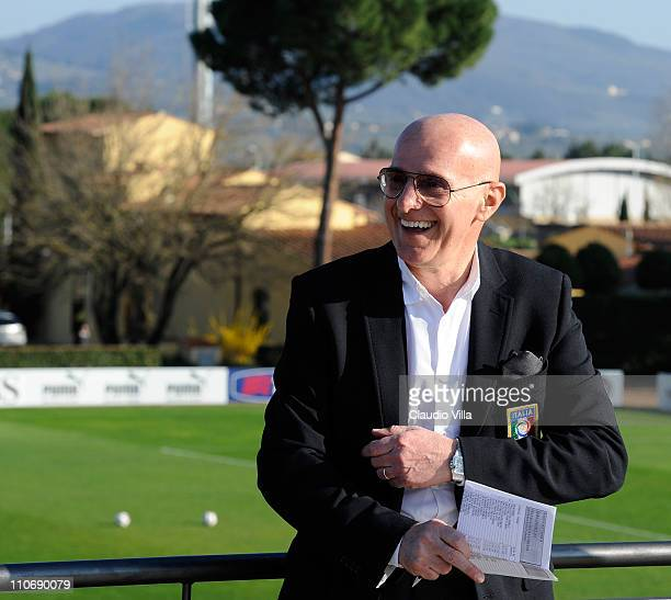 Italian Football Youth Coordinator Arrigo Sacchi during a training session ahead of their EURO 2012 qualifier against Slovenia at Coverciano on March...