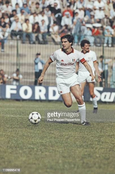 Italian footballer Agostino Di Bartolomei , midfielder with AS Roma, pictured in action for AS Roma during a Serie A match in 1984 during the 1984-85...