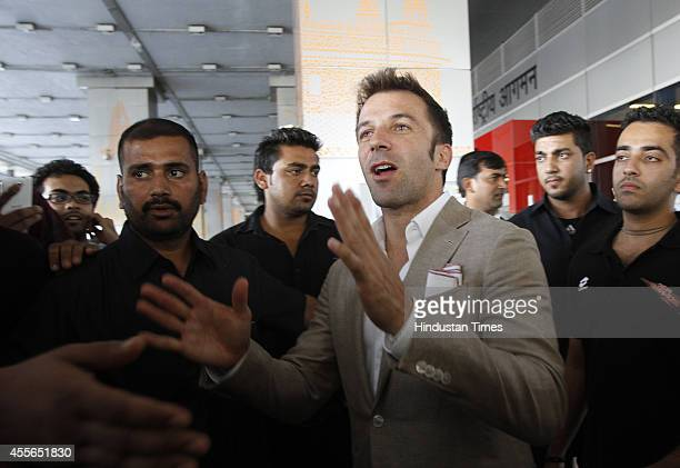 Italian footballer Alessandro Del Piero being welcomed by fans on his arrival at IGI on September 18 2014 in New Delhi India 2006 Italian World Cup...