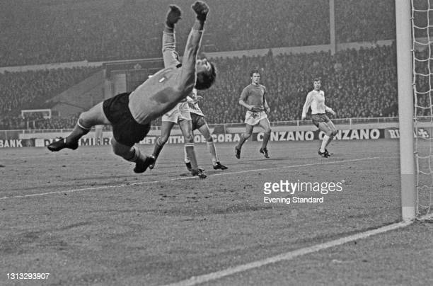 Italian footballer Dino Zoff, the goalkeeper for Italy, during an International Friendly match against England at Wembley Stadium in London, UK, 14th...