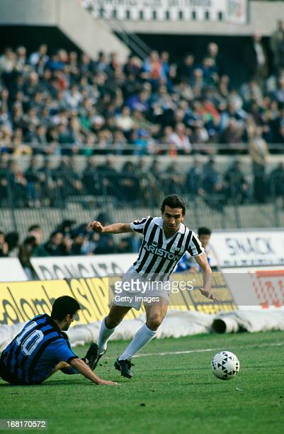 Italian footballer Luigi De Agostini of Juventus in action during an Italian League match against AC Pisa at Stadio Comunale Turin 20th March 1988...