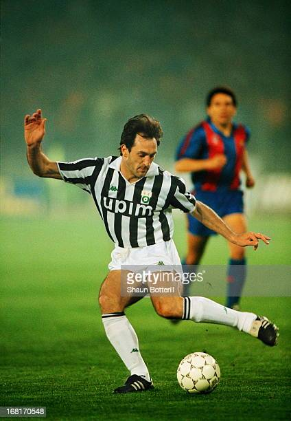 Italian footballer Luigi De Agostini of Juventus on the ball during the European Cup Winners' Cup semifinal second leg against Barcelona at Stadio...