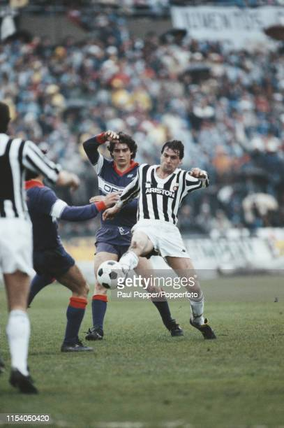 Italian footballer Marco Tardelli, midfielder with Juventus FC, pictured in action on the pitch during the Serie A match between Juventus and...