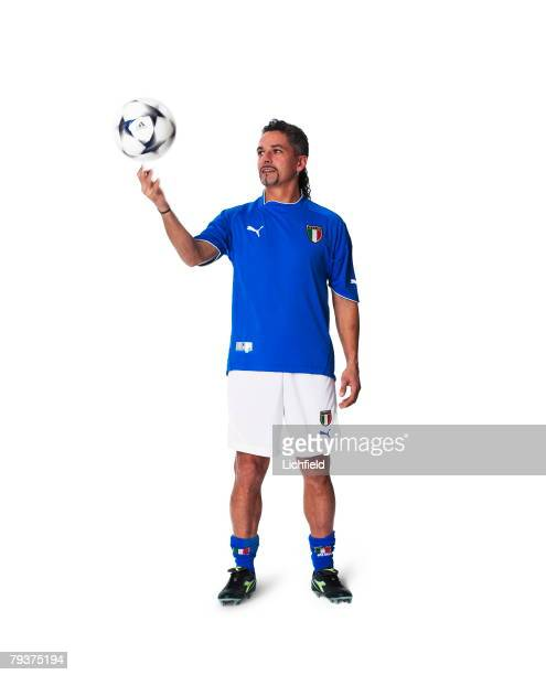 Italian footballer Roberto Baggio striker for Brescia and the Italian national team 5th December 2003