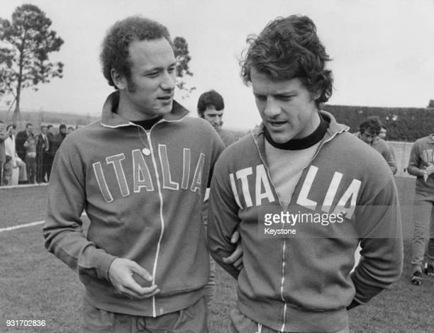 Italian footballers Francesco Rocca and Fabio Capello circa 1975