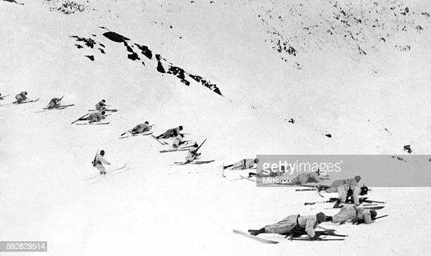 Italian forces on skis seen here during an advance on Austrian forces in the Julian Alps Circa December 1916
