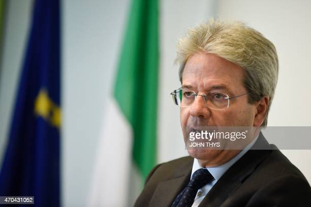 Italian Foreign Affairs minister Paolo Gentiloni talks during an emergency meeting of foreign and interior ministers following the weekend loss of a...
