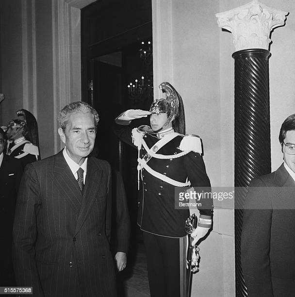 Italian Foreign Minister Aldo Moro leaves President Giovanni Leone's office at the Quirinale Palace 10/7 after a meeting in an effort to solve the...