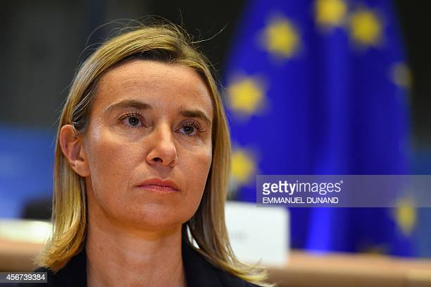 Italian foreign minister and incoming EU foreign affairs chief Federica Mogherini faces her hearing by the European Parliament in Brussels October 6...
