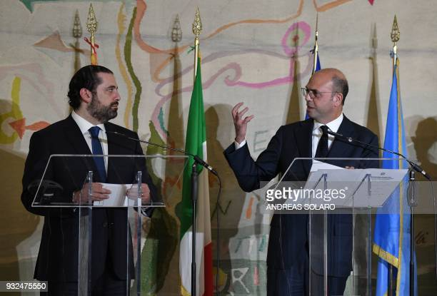 Italian Foreign Minister Angelino Alfano a Lebanese Prime Minister and Leader of the Future Movement Party Saad Hariri take part in a final press...