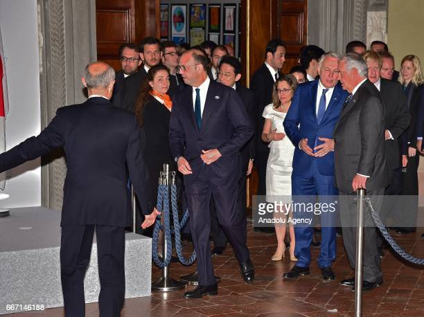 Italian Foreign Minister Angelino Alfano arrives to attend the family photo within the G7 Ministers of Foreign Affairs Meeting in Lucca Italy on...