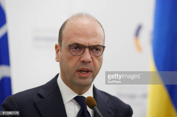 Italian Foreign Minister Angelino Alfano speaks during a press conference with Ukrainian Foreign Minister Pavlo Klimkin in Kiev Ukraine 30 January...