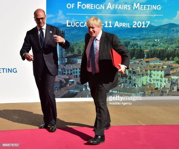 Italian Foreign Minister Angelino Alfano welcomes British Foreign Secretary Boris Johnson before the G7 Ministers of Foreign Affairs Meeting in Lucca...