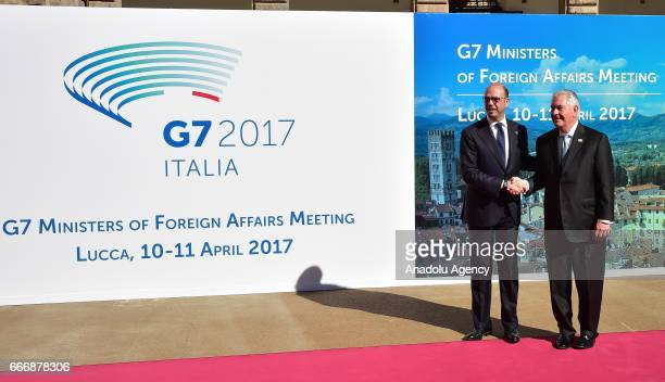 Italian Foreign Minister Angelino Alfano welcomes US Secretary of State Rex Tillerson before the G7 Ministers of Foreign Affairs Meeting in Lucca...