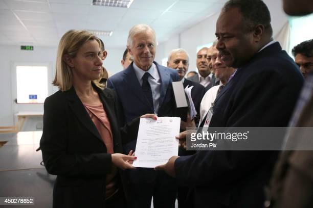 Italian Foreign Minister Federica Mogherini hands over the new hospital building June 8 2014 at Azraq refugee camp near Azraq city 100 Km east of the...