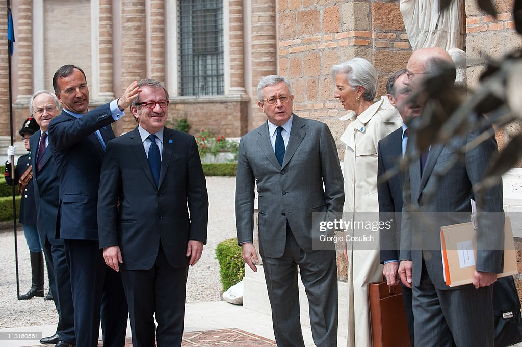 Italian Foreign Minister Franco Frattini, Interior Minister Roberto Maroni and Minister of Economy Giulio Tremonti meet their French counterparts Minister of Finance Christine Lagarde, Minister of Foreign Affairs Alain Juppe and Minister of the Interior Claude Gueant at the Italy-France Summit at Villa Madama on April 26, 2011 in Rome, Italy. Italian Prime Minister Silvio Berlusconi and French President Nicolas Sarkozy discussed the immigration crisis and the possible opening of nuclear power plants among other topics during the Italy-France summit.