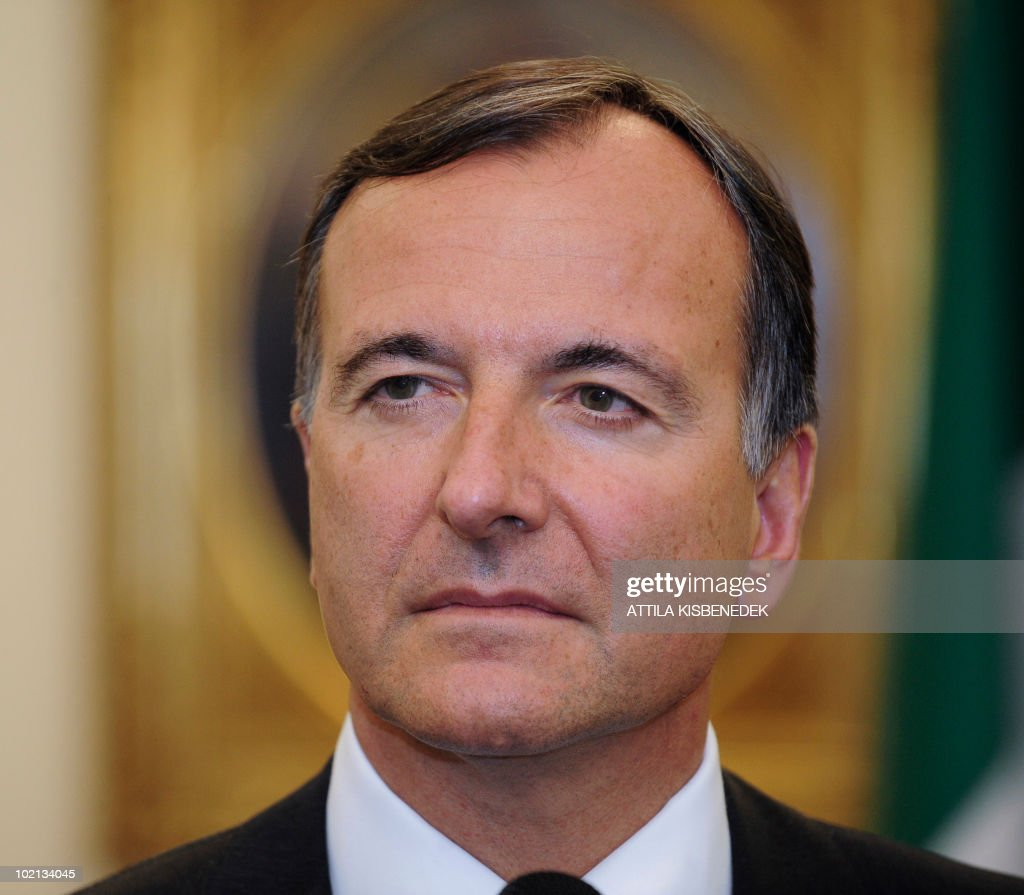 Italian Foreign Minister Franco Frattini listens to questions during a joint press conference with his Hungarian counterpart Janos Martonyi (not pictured) at the ministry of Foreign Affairs in Budapest on June 16, 2010. Frattini is on a one-day official visit to Hungary.