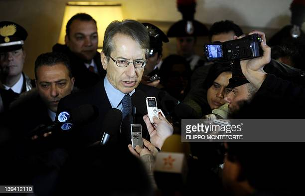 Italian Foreign Minister Giulio Terzi di Sant'Agata addresses the media at Rome's Foreign Ministry Office on February 20 2012 Two Italian soldiers...