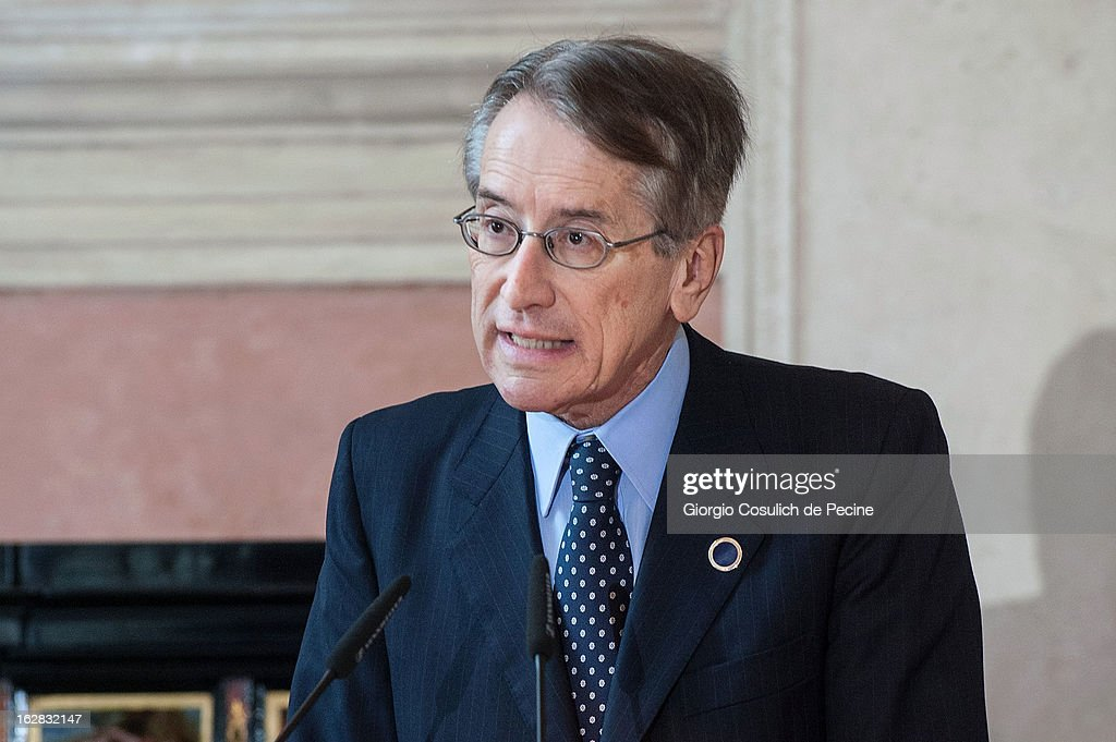 Italian Foreign Minister, Giulio Terzi speaks during a press conference after the meeting of the 'Friends of the Syrian People', attended by US Secretary of State John Kerry, at Villa Madama on February 28, 2013 in Rome, Italy. Kerry stated that the opposition needs 'more help' in the fight against President Bashar Hafez al-Assad. The new US Secretary of State is on his first trip and is visiting nine nations in Europe and the Middle East.