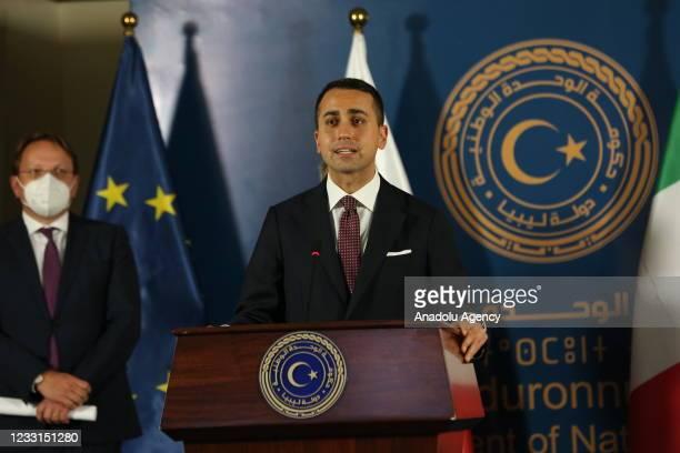 Italian Foreign Minister Luigi Di Maio , Maltese Foreign Minister Evarist Bartolo , European Commissioner for Neighborhood and Enlargement, Oliver...