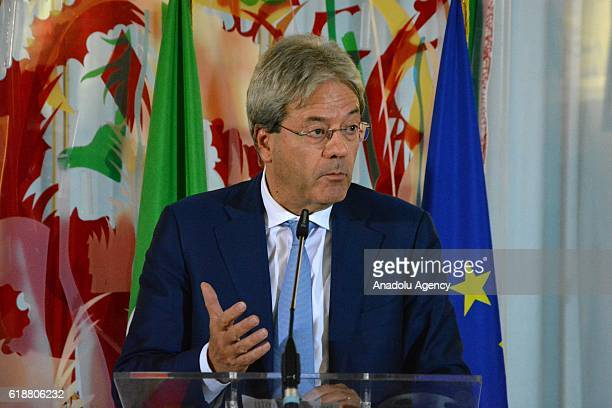 Italian Foreign Minister Paolo Gentiloni delivers a speech during a joint press conference with Special Envoy of the US President Barack Obama for...