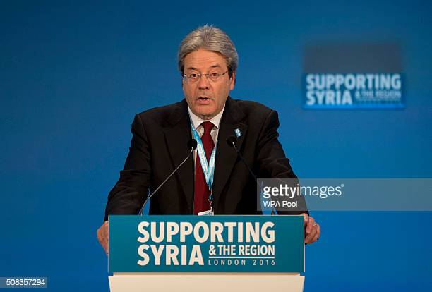 Italian Foreign Minister Paolo Gentiloni makes a pledge during the second cohost chaired thematic pledging session for jobs and economic development...