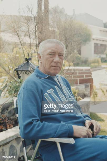Italian former footballer and manager of the Italy national football team Ferruccio Valcareggi pictured sitting on a folding chair in Mexico during...