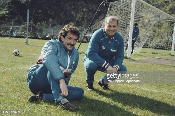 Italian former footballer Eugenio Bersellini , manager of Sampdoria, pictured with Sampdoria midfielder Graeme Souness after a training session with...