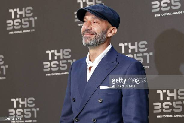 Italian former player Gianluca Vialli poses for a photograph as he arrives for The Best FIFA Football Awards ceremony on September 24 2018 in London