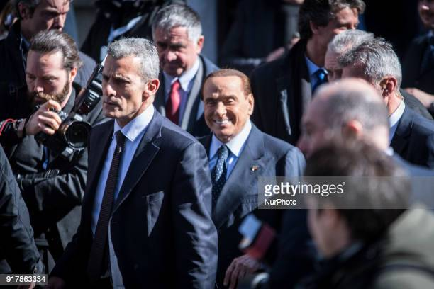 Italian former Premier and Forza Italia leader Silvio Berlusconi during a meeting organized by the association ahead of the 04 March general...
