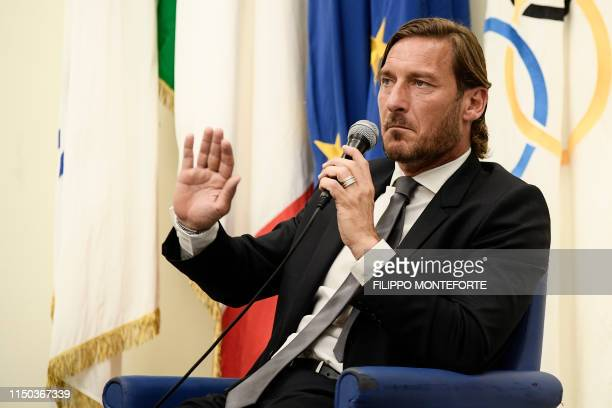 Italian former professional footballer and current technical director at AS Roma, Francesco Totti speaks during a press conference on June 17, 2019...
