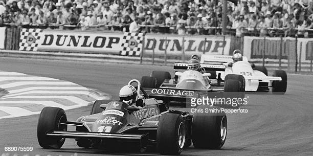 Italian Formula One racing driver Elio de Angelis drives the John Player Team Lotus 87 Ford Cosworth V8 during the 1981 British Grand Prix at the...