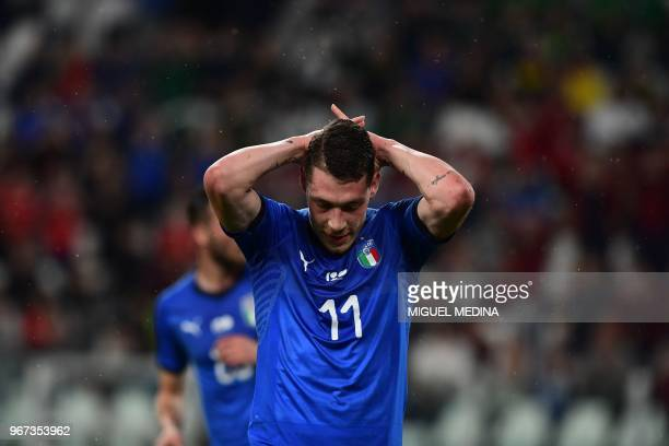 Italian forward Andrea Belotti gestures during a friendly match between Italy and the Netherlands at the Allianz stadium in Torino on June 4 2018