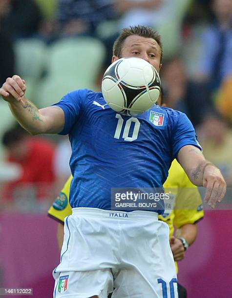 Italian forward Antonio Cassano controls the ball during the Euro 2012 championships football match Spain vs Italy on June 10 2012 at the Gdansk...