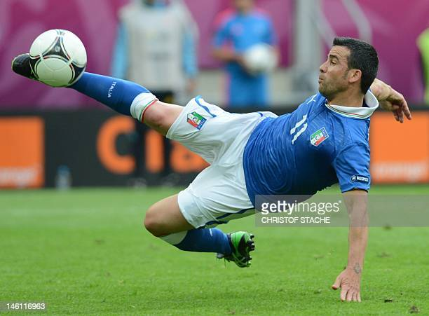 Italian forward Antonio Di Natale kicks the ball during the Euro 2012 championships football match Spain vs Italy on June 10 2012 at the Gdansk Arena...