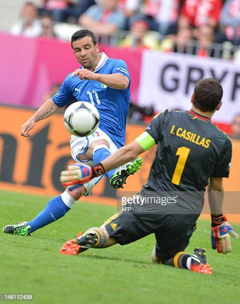 Italian forward Antonio Di Natale scores past Spanish goalkeeper Iker Casillas during the Euro 2012 championships football match Spain vs Italy on...