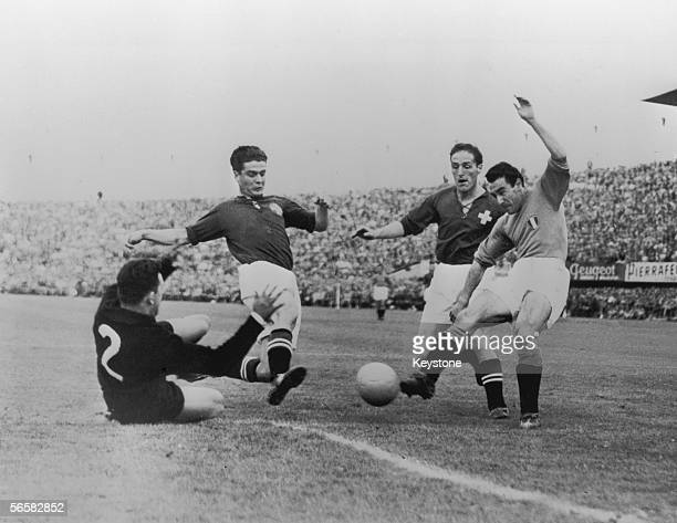 Italian forward Benito Lorenzi in action during a World Cup first round match against Switzerland at La Pontaise, Lausanne, 17th June 1954....