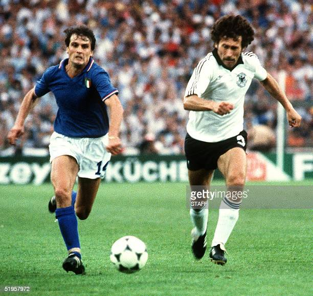 Italian forward Marco Tardelli and West German defender Paul Breitner run after the ball during the World Cup final between Italy and West Germany 11...