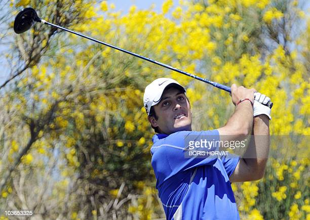 Italian Francesco Molinari eyes the ball during the French Open on July 4 2010 in St Quentin en Yvelines west of Paris at the end of a threeway...