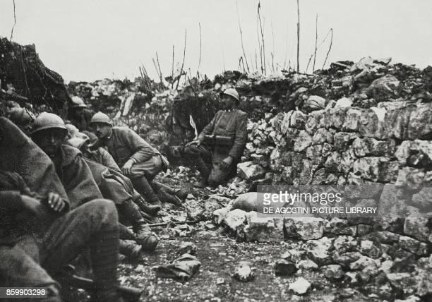 Italian frontline trench past Loquizza, with an unexploded 305 mm bullet, Karst, Slovenia, World War I, from L'Illustrazione Italiana, Year XLIII, No...