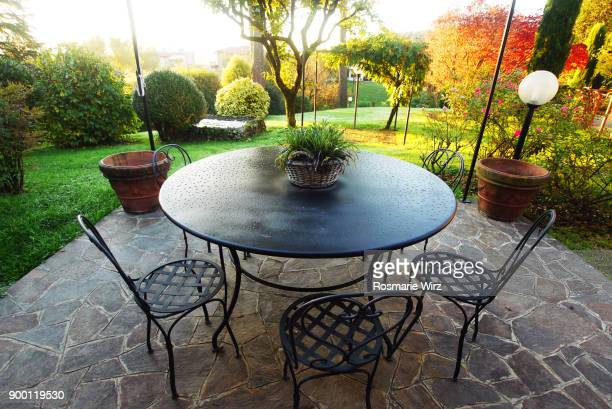 Italian garden patio on a colorful autumn day