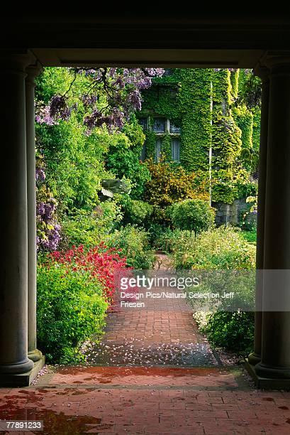 Italian garden through columns