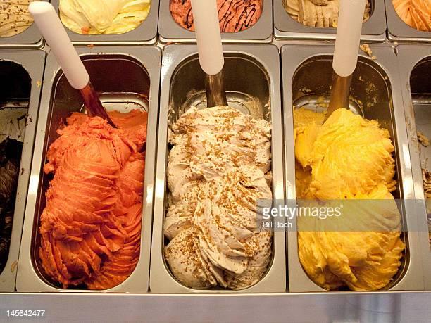 Italian gelato ice cream displayed in shop